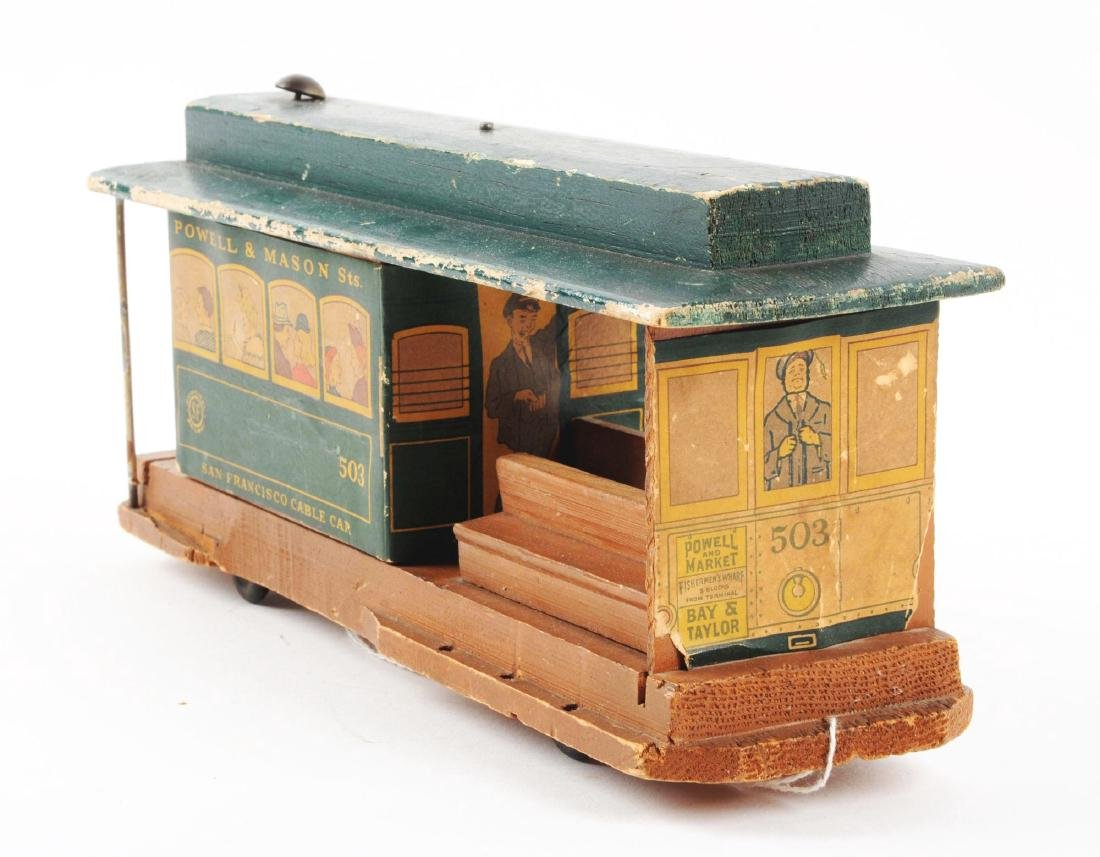 Unusual Early Paper on Wood San Francisco Cable Car - 6