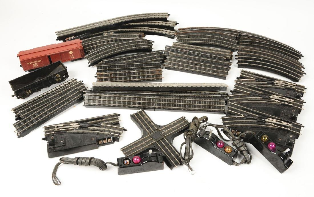 Lot of 2: Lionel Super-O Freight Cars & Box of Track.