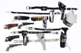 Lot of 9: Civil War Type Toy Guns & Holsters.