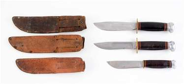 Lot of 3: Marbles Fixed Blade Knives.