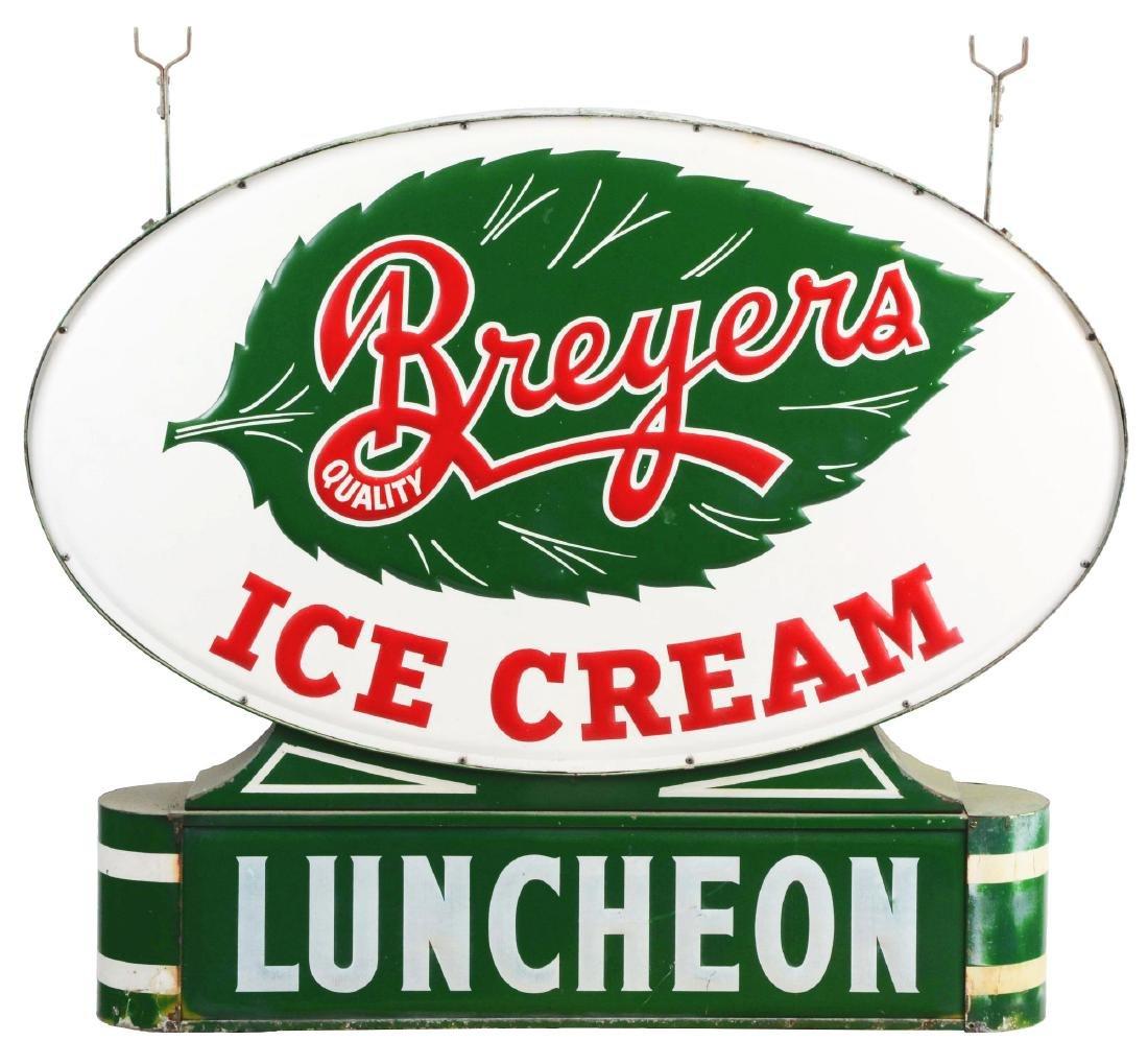 "Breyers Ice Cream ""Luncheon"" Embossed Metal Sign."