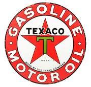 Texaco (black-T) Gasoline Motor Oil Porcelain Sign.