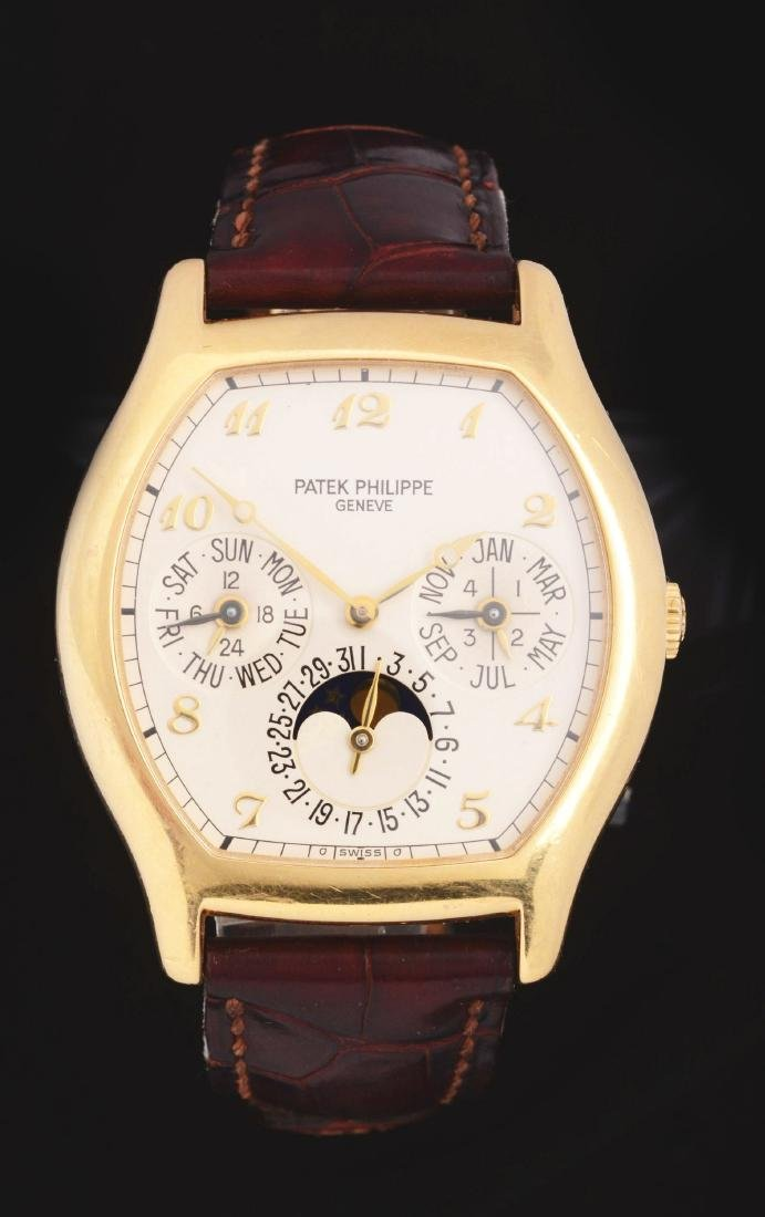 Patek Philippe 18K Yellow Gold Tonneau-Case Perpetual