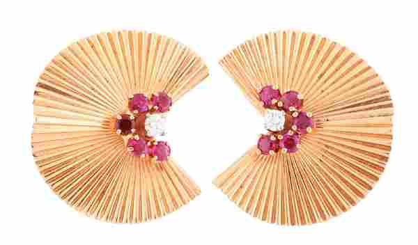 14K Yellow Gold Tiffany & Co. Diamond & Ruby Clip Back