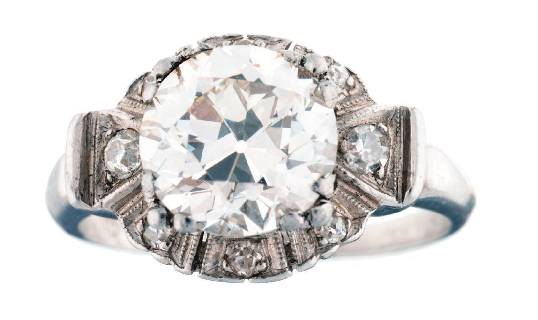 Platinum Diamond Engagement Ring Featuring 2.32 Carat