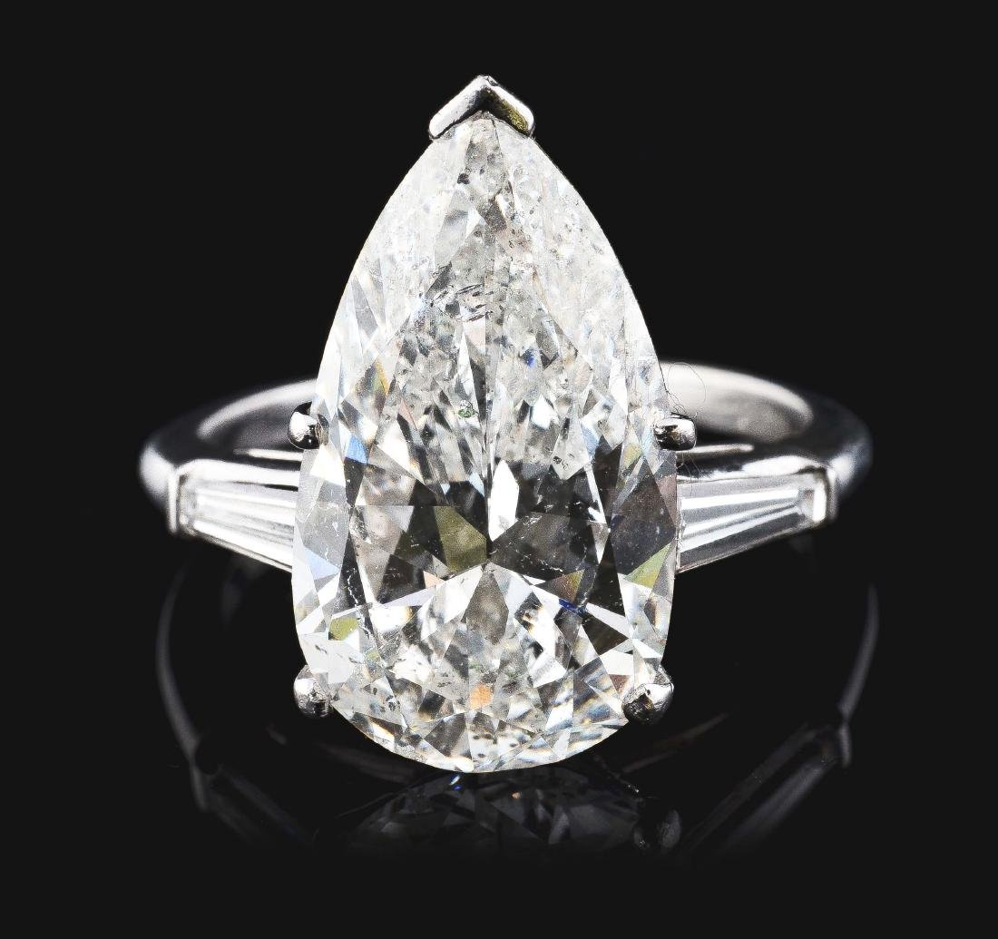 Large 8.05 Carat Pear Shaped Diamond & Platinum