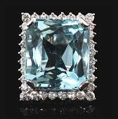 14K White Gold Diamond  Aquamarine Cocktail Ring
