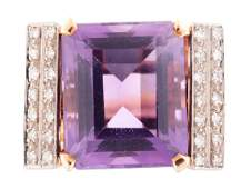 An Art Deco 14K Yellow Gold Amethyst  Diamond Ring