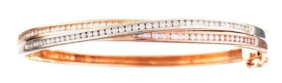 14K Two Toned Gold & Diamond Bangle.