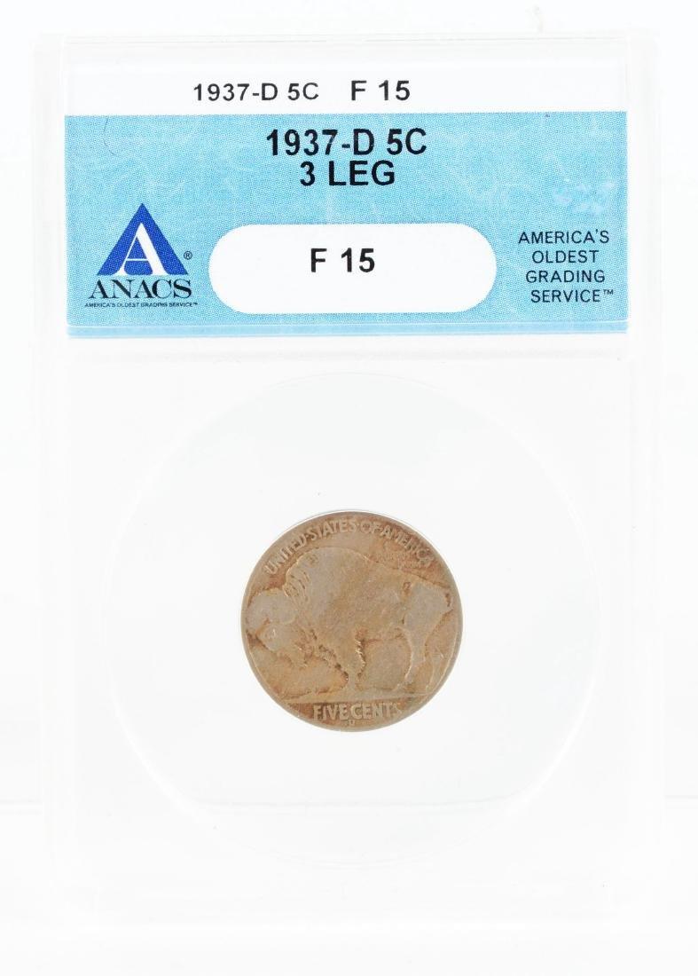 1937 D 3-Legged Buffalo Nickel.