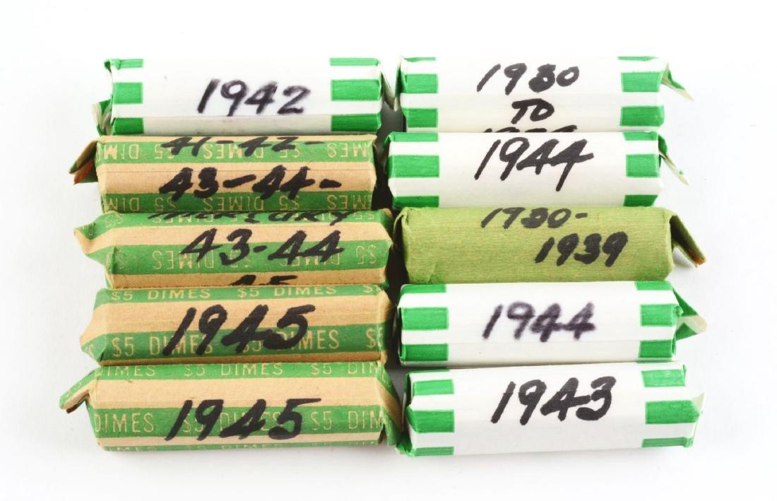 Lot of 10: Rolls of Mercury Dimes.