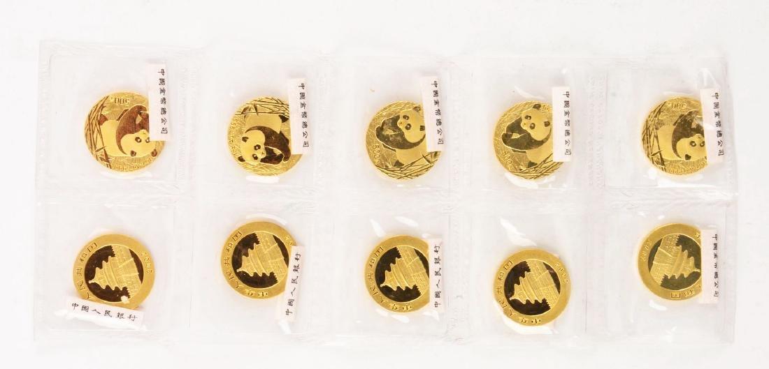 Lot of 10: 2002 Chinese Panda 1oz. Coins..500 Yuan.