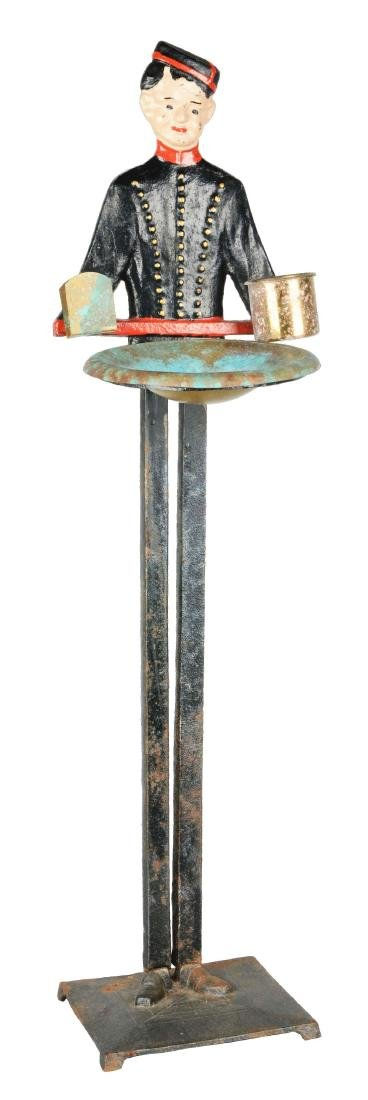 Figural Cast Iron Usher Smoking Stand.