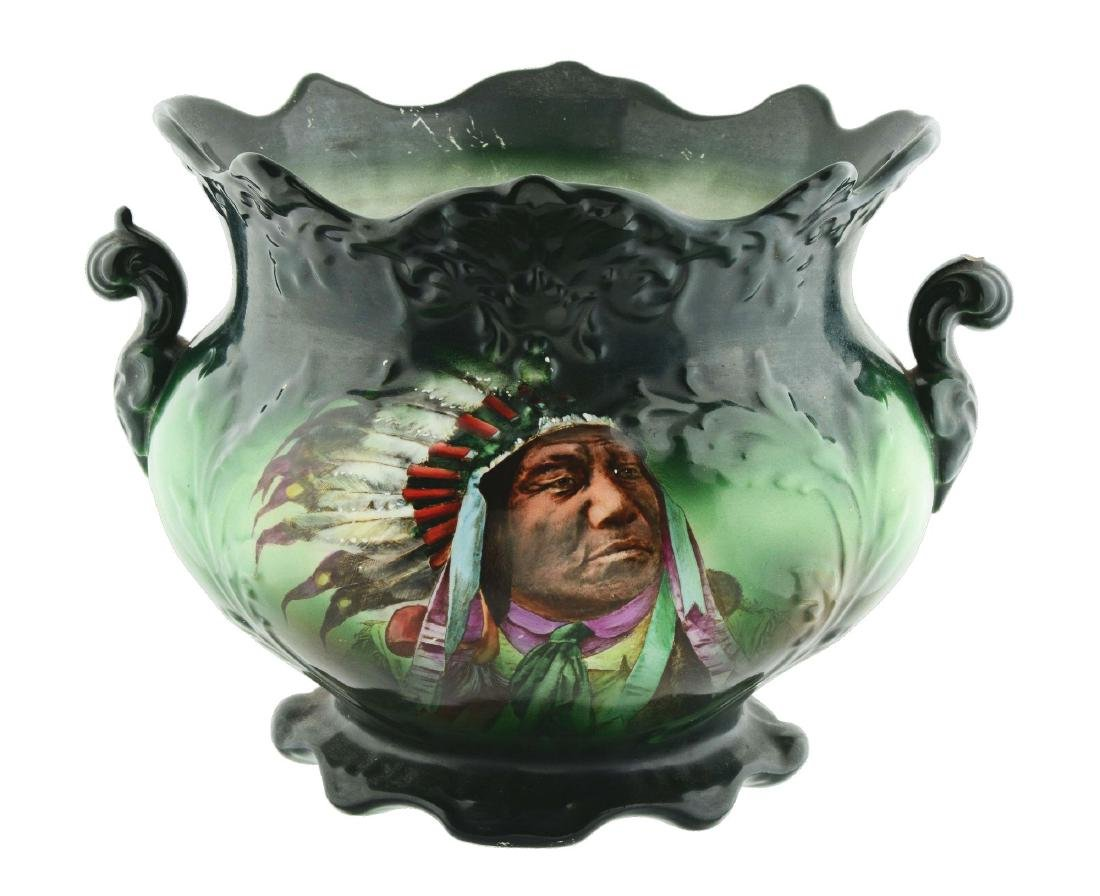 Native American Chief And Buffalo Planter With