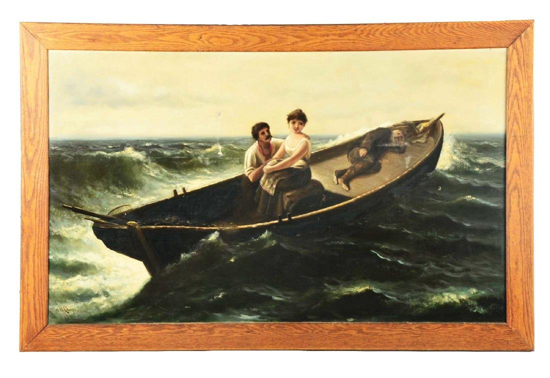 """Astley D.M. Cooper Painting """"Figures In A Storm""""."""