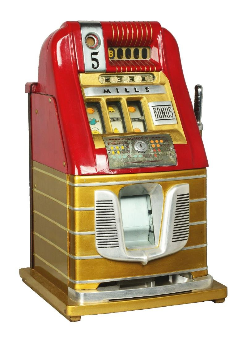 **5¢ Mills Bonus Bell Hi-Top Slot Machine.
