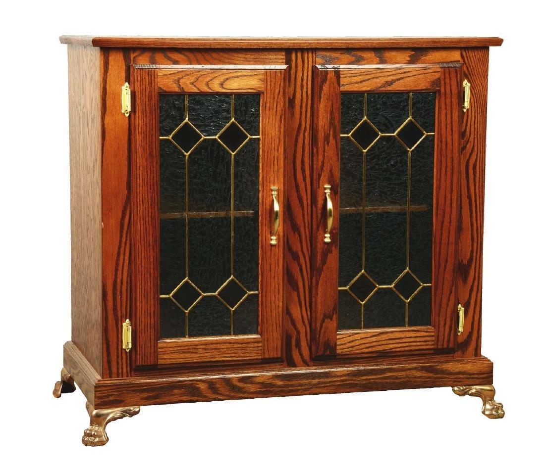 Glass Front Oak Double Slot Machine Stand.