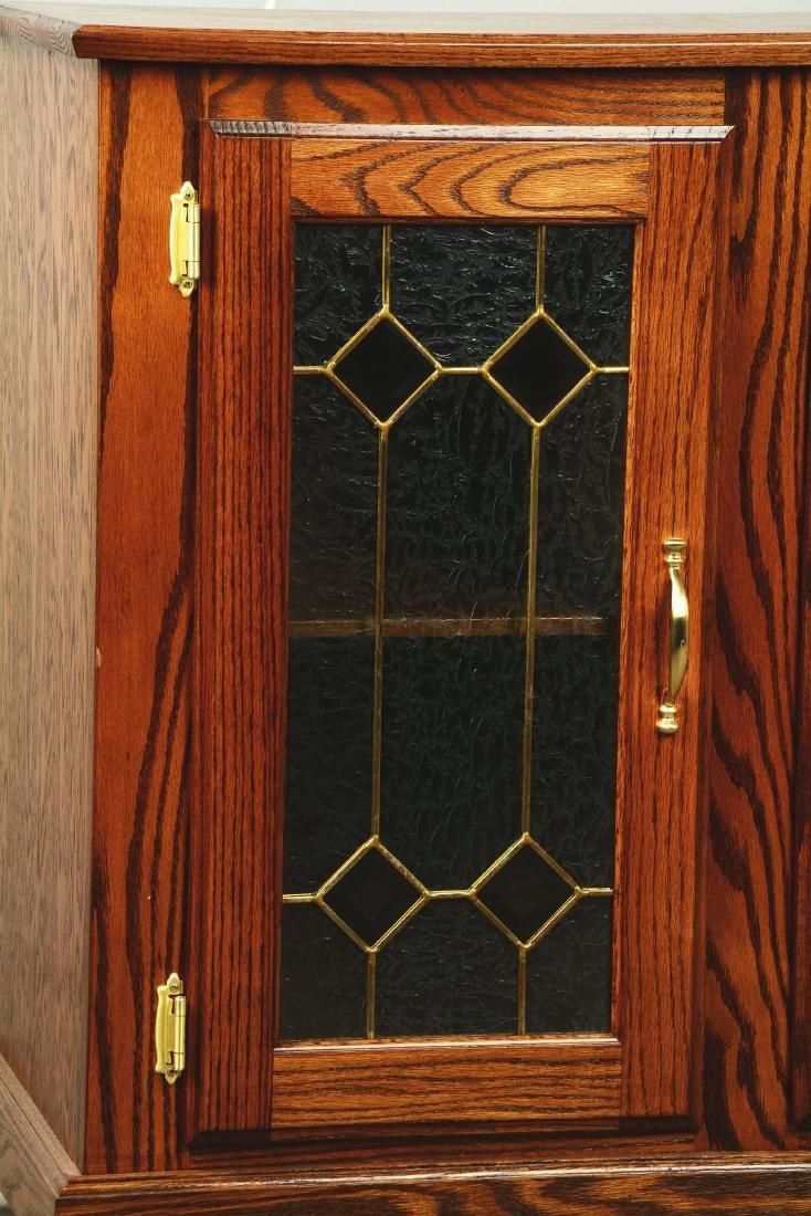 Glass Front Oak Double Slot Machine Stand. - 3