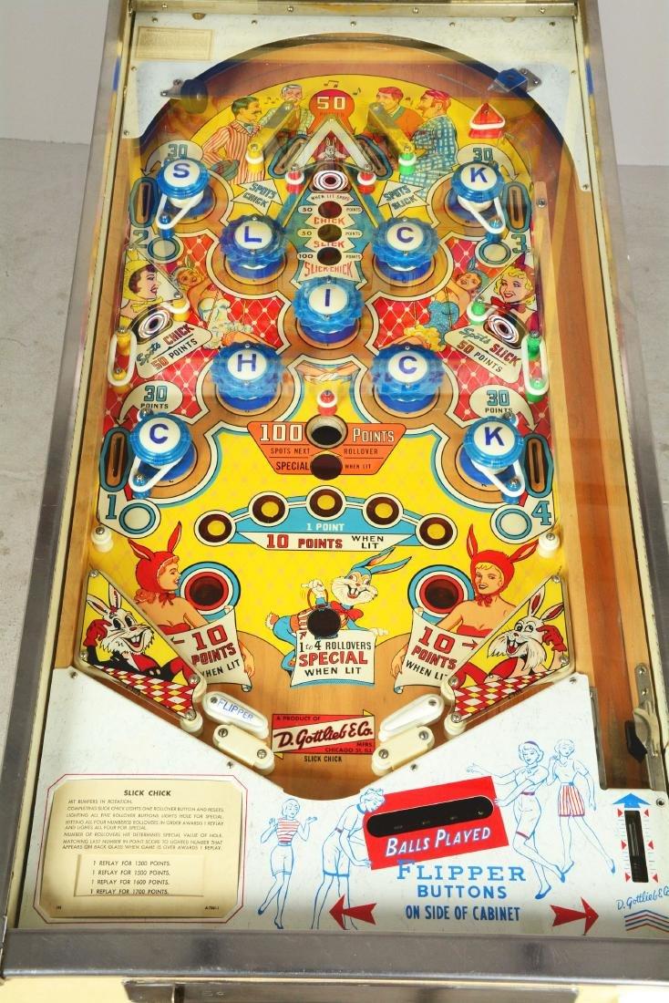 5¢ Gottlieb's Slick Chick Pinball Machine. - 6