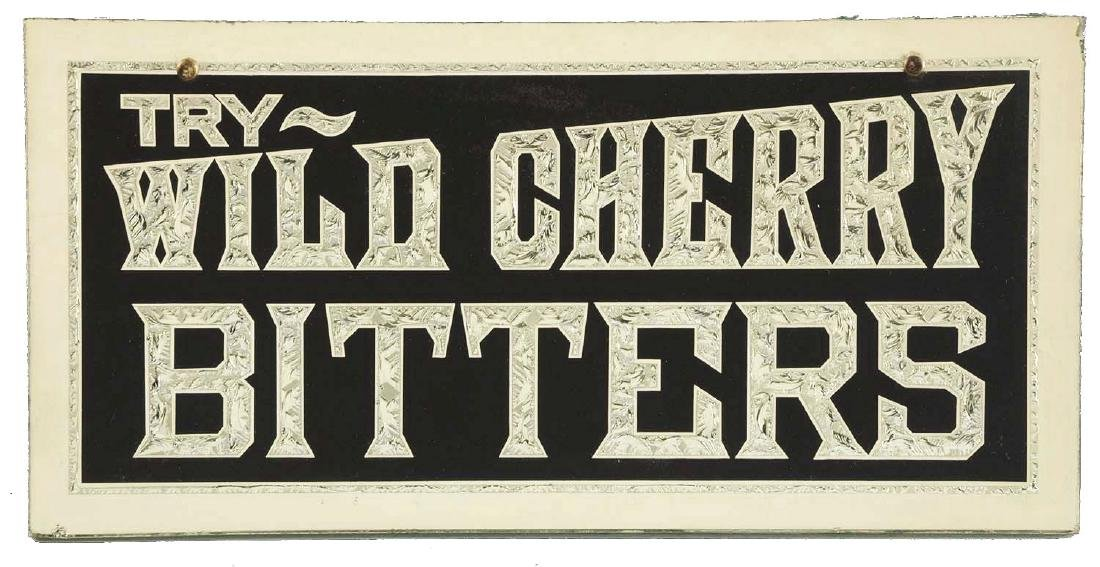 Wild Cherry Bitters Chipped Glass Sign.