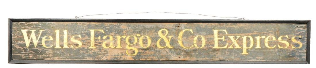 Wooden Wells Fargo & Co. Express Sign.