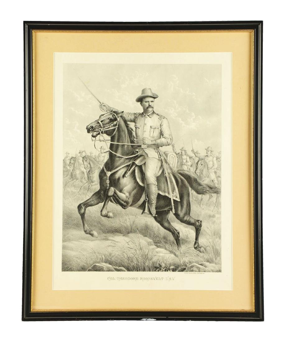 Framed Black And White Theodore Roosevelt Print.