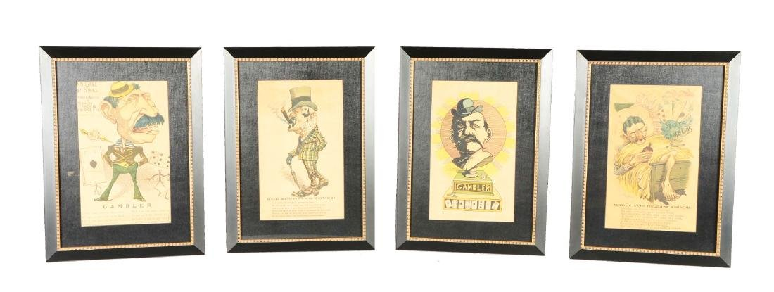 Lot Of 4: Caricatures Of Gamblers.