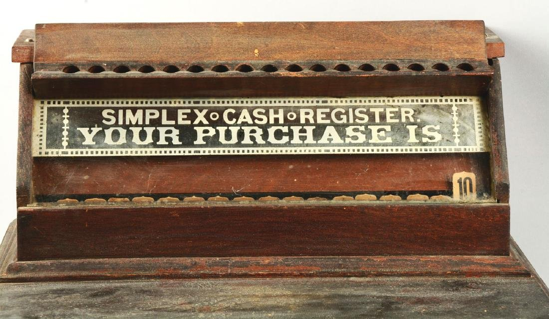 Wooden Simplex Cash Register. - 3