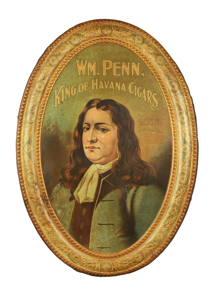 WM. Penn King Of Havana Cigars Tin Advertisement.