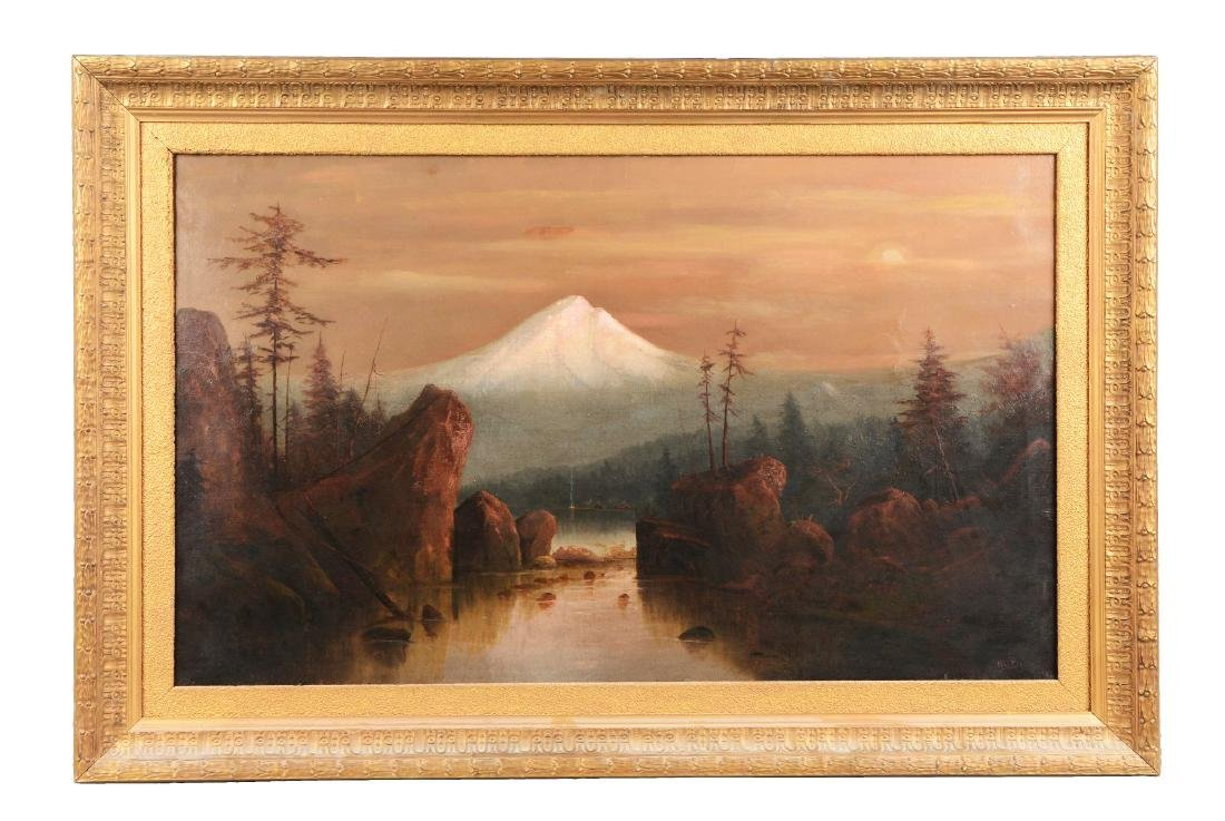 Large Oil On Canvas Painting Of Mt. Hood By H.C. Best.