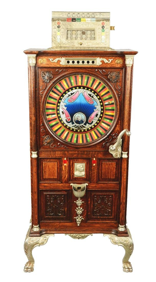 **5¢ Mills The Dewey Upright Floor Wheel Slot Machine.