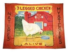"Fred Johnson ""3 Legged Chicken"" Sideshow Banner."