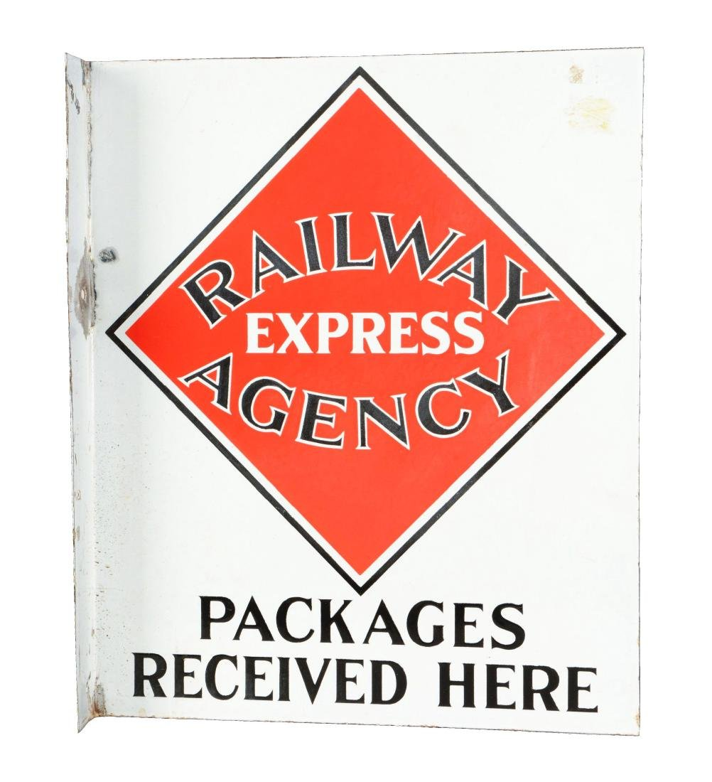 Railway Express Agency Porcelain Flange Sign.