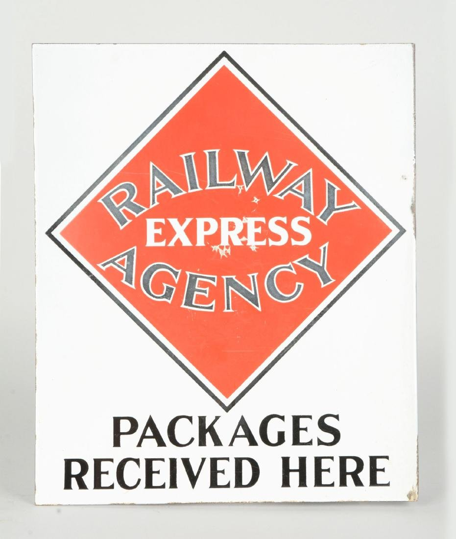 Railway Express Agency Porcelain Flange Sign. - 2