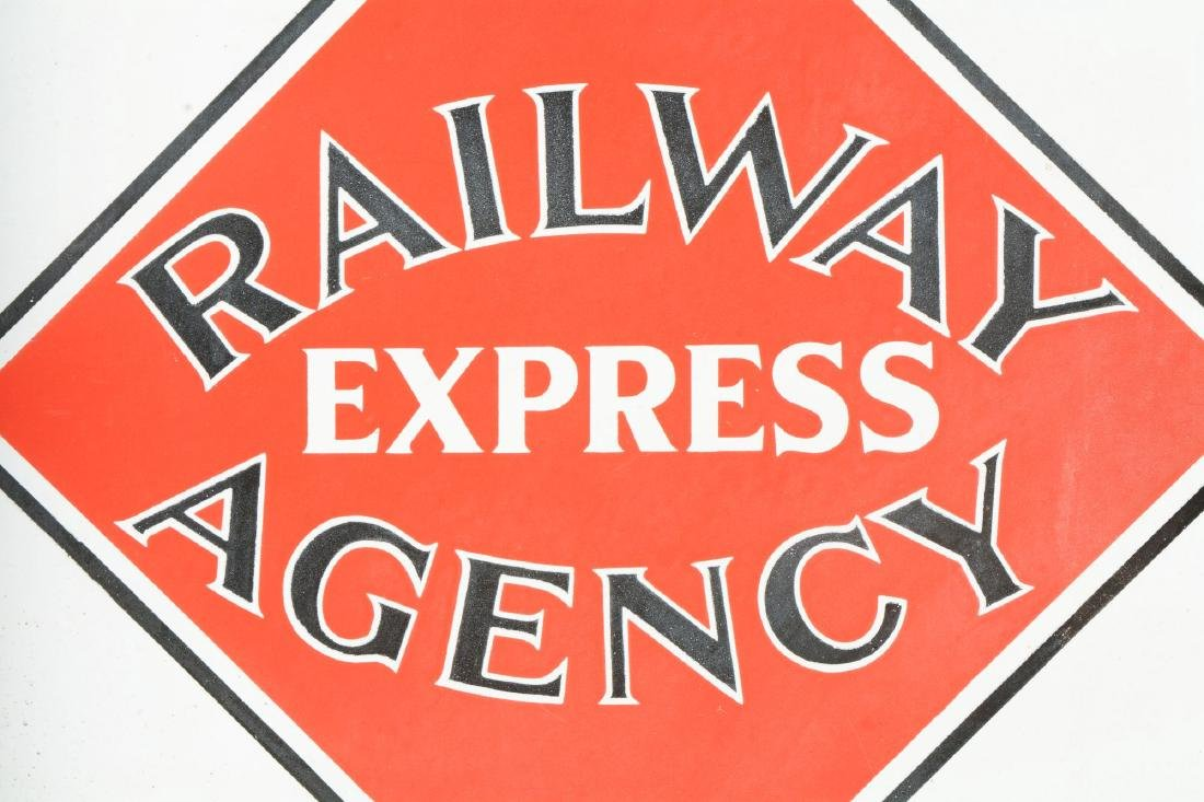 Railway Express Agency Porcelain Flange Sign. - 3