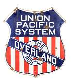Early Union Pacific System Porcelain Shield Sign