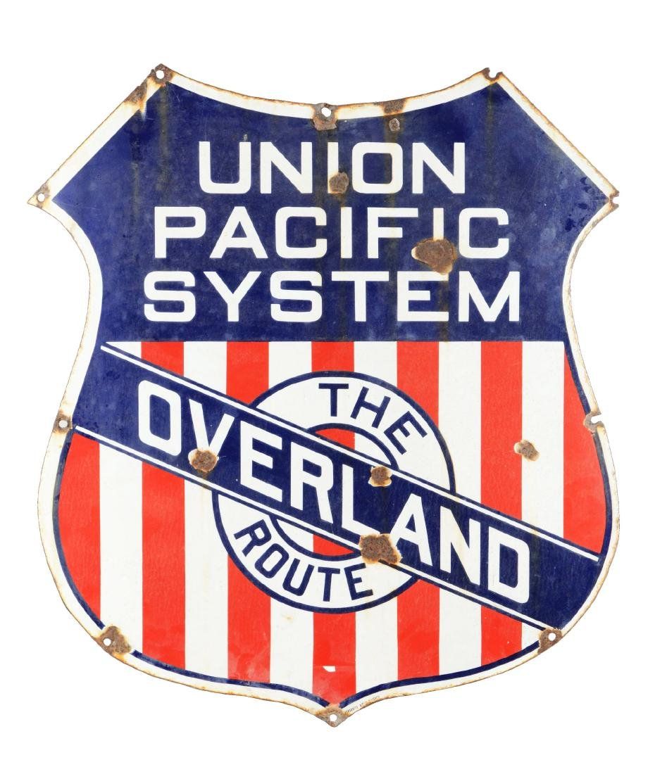 Early Union Pacific System Porcelain Shield Sign.