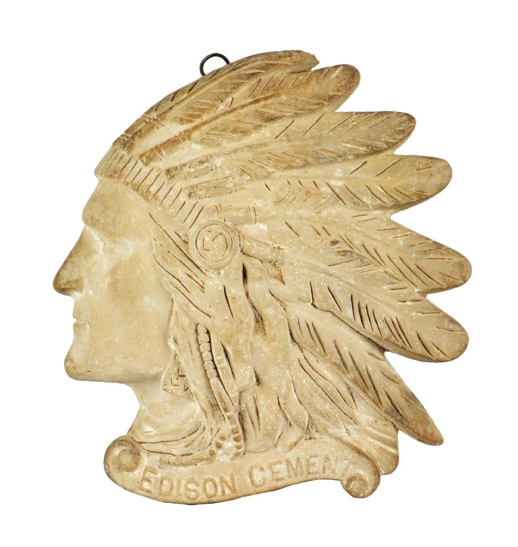 Edison Cement Figural Indian Head Wall Plaque.