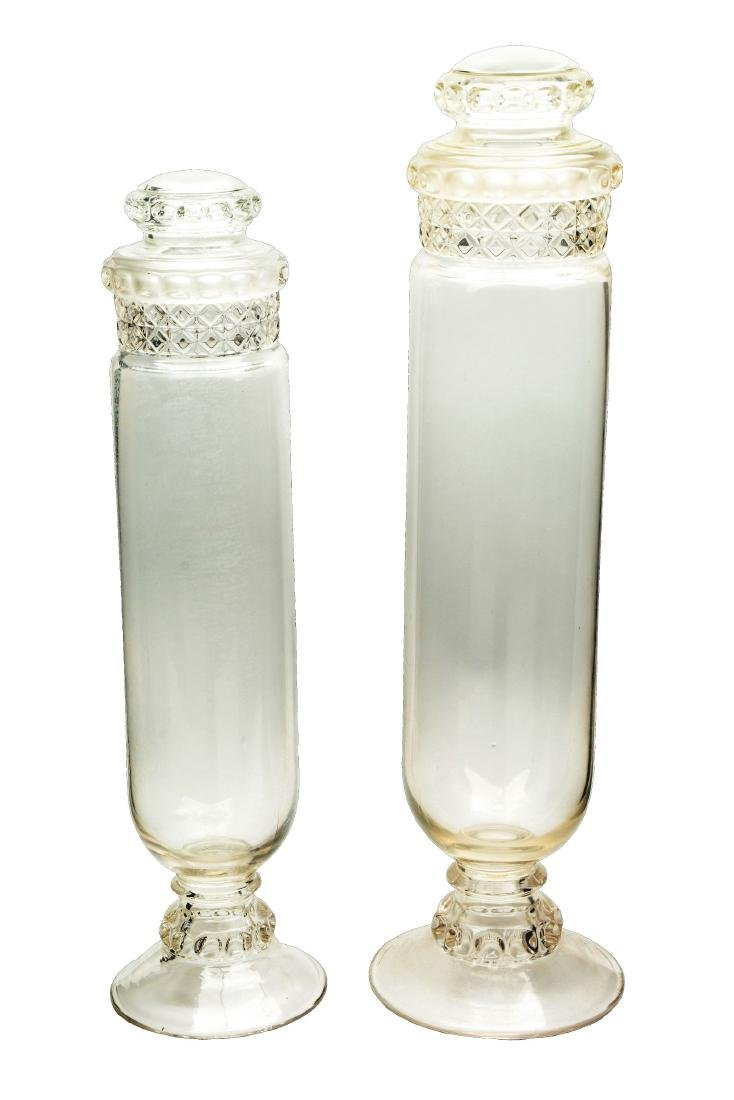 Lot Of 2: Clear Glass Dakota Tube Candy Jars.