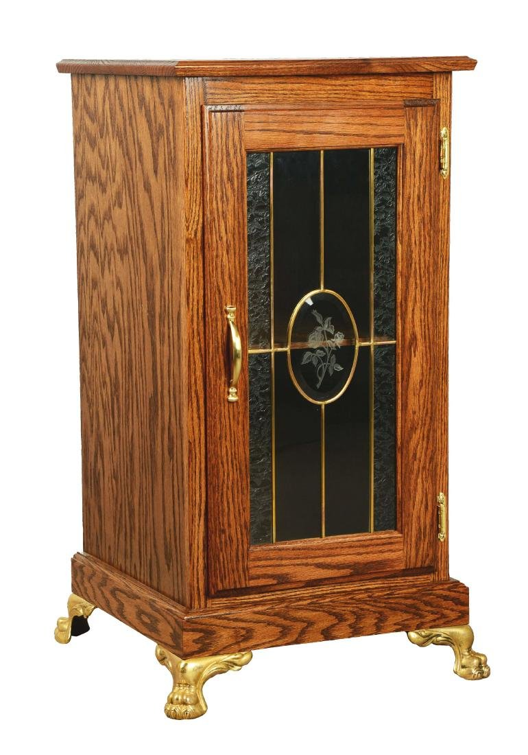 Single Slot Machine Stand With Glass Front.