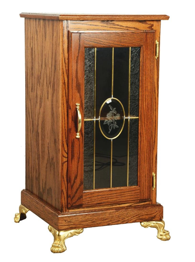 Glass Front Oak Slot Machine Stand.