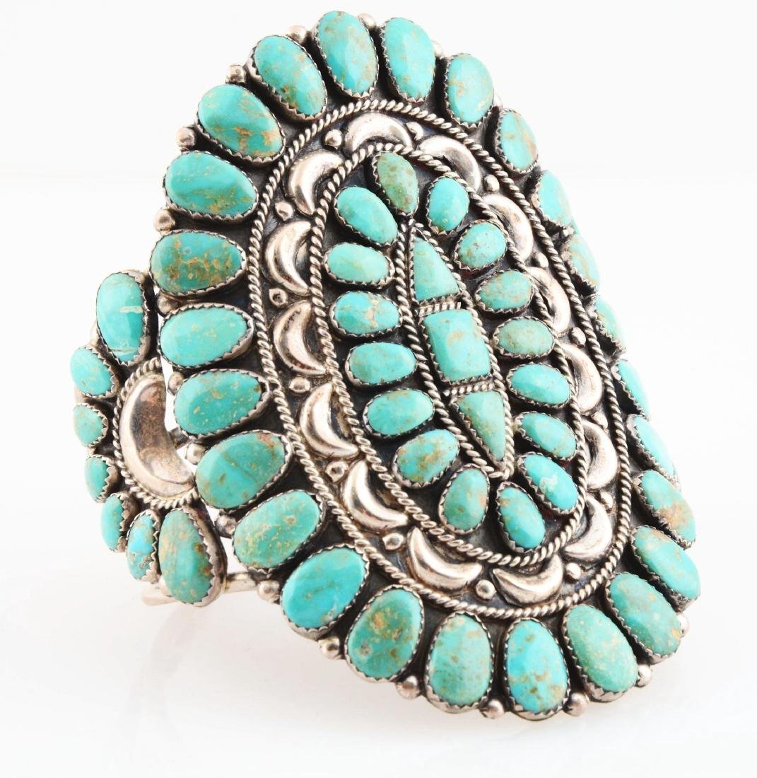 Sterling Silver And Turquoise Bracelet.