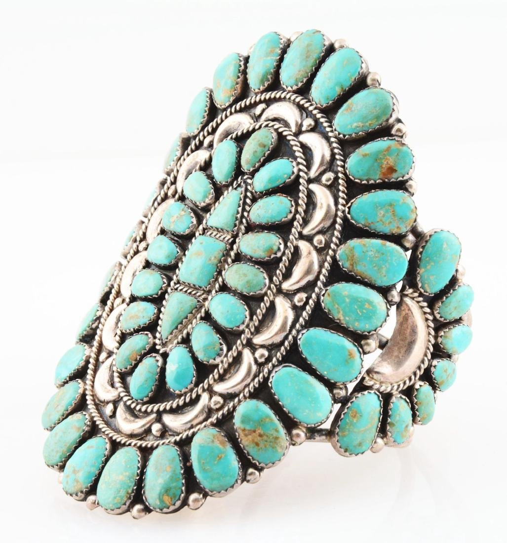 Sterling Silver And Turquoise Bracelet. - 2