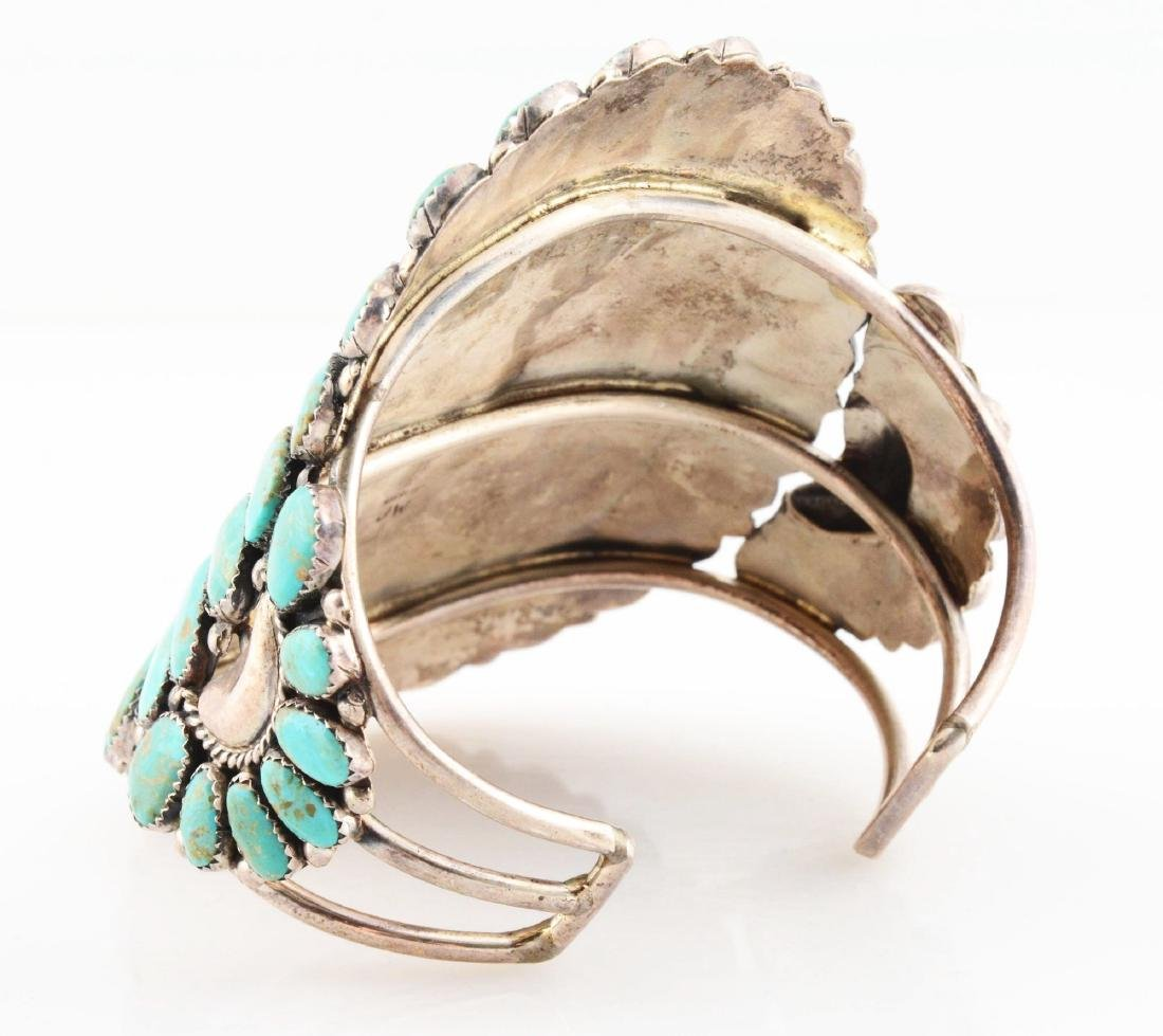 Sterling Silver And Turquoise Bracelet. - 3