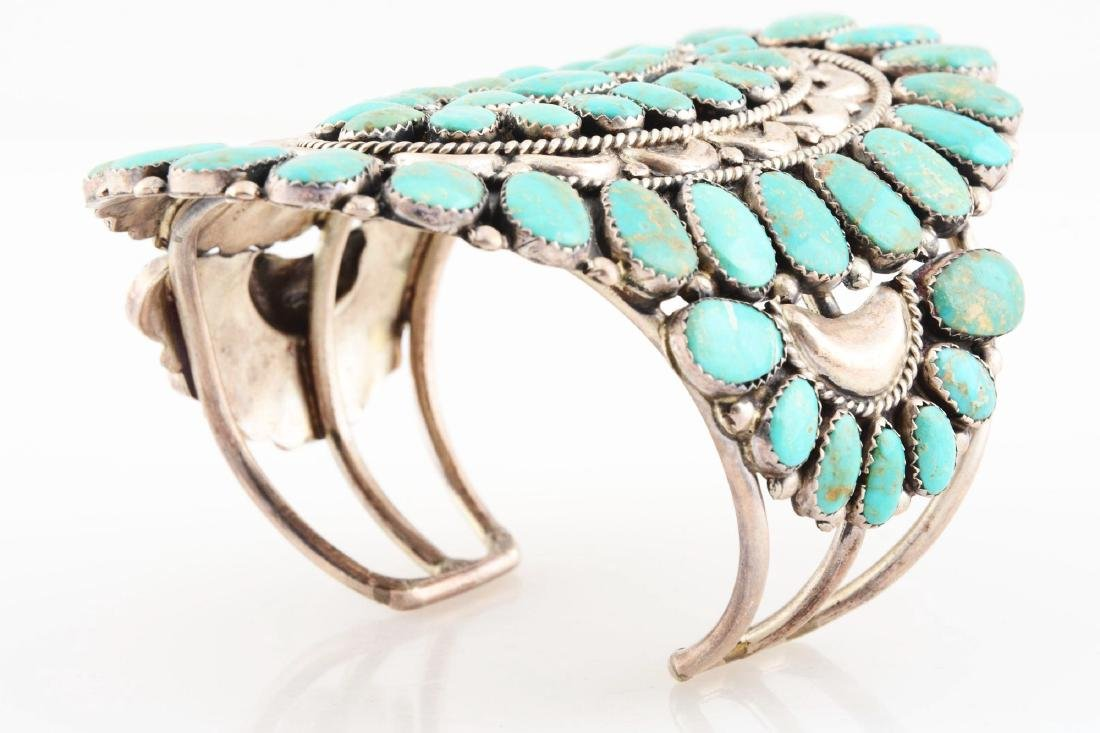 Sterling Silver And Turquoise Bracelet. - 4