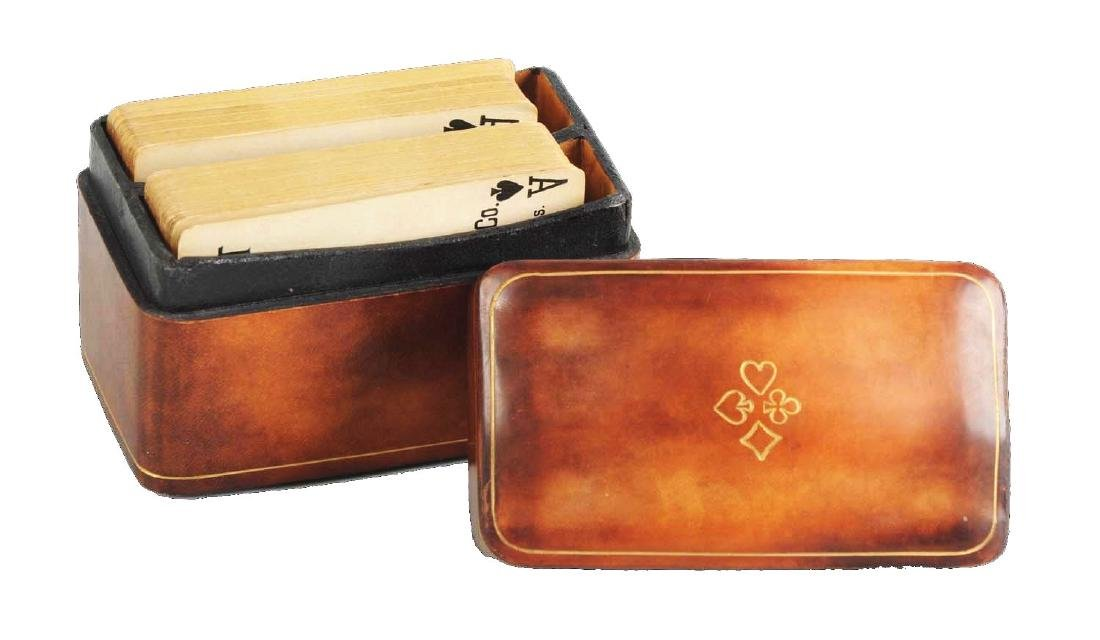 Vintage Italian Leather Playing Card Box With Cards.