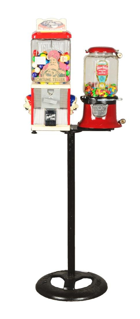 Lot Of 2: 1¢ Gum Ball Vending Machines With Stand.