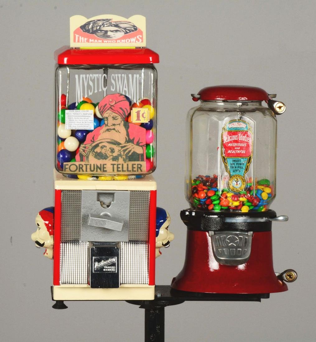 Lot Of 2: 1¢ Gum Ball Vending Machines With Stand. - 3