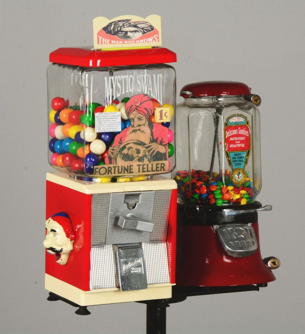 Lot Of 2: 1¢ Gum Ball Vending Machines With Stand. - 4