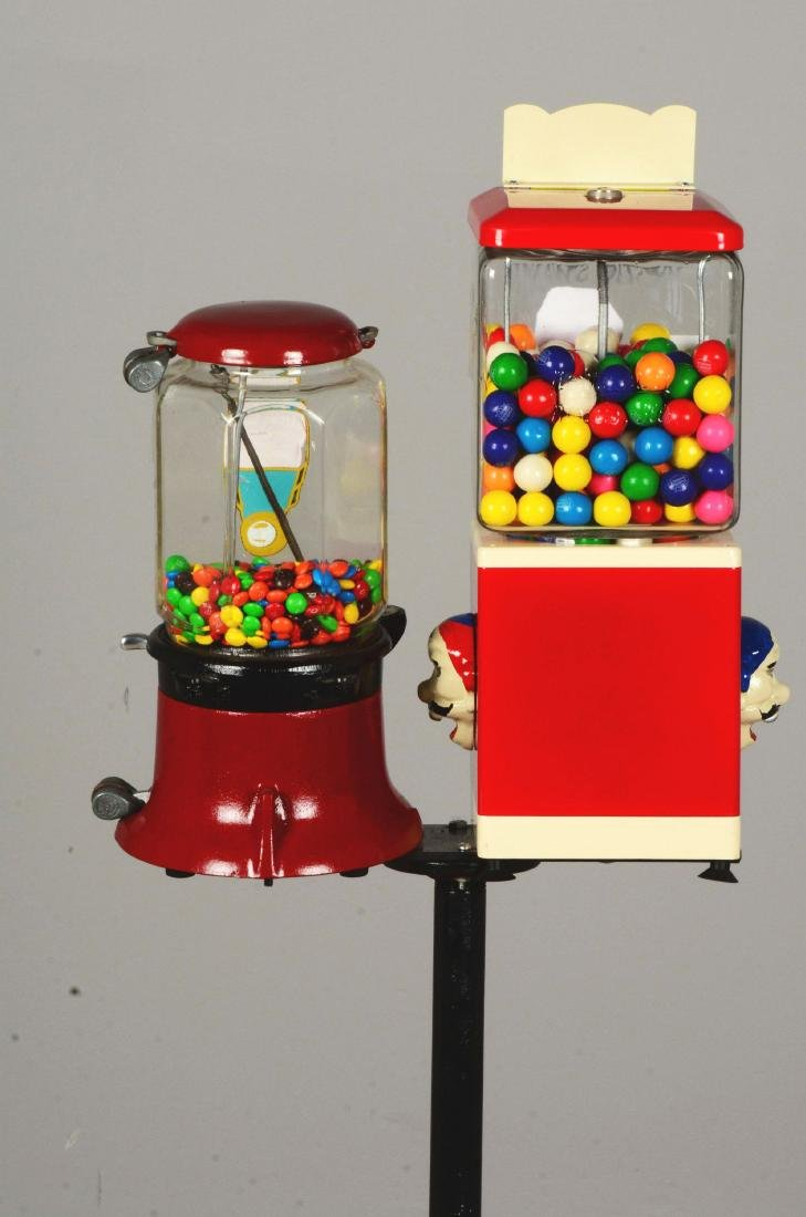 Lot Of 2: 1¢ Gum Ball Vending Machines With Stand. - 5